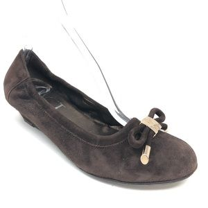 AGL Chocolate Brown Suede Leather Wedge 39.5 9.5